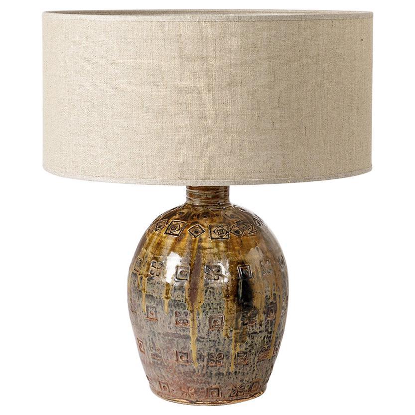 Mid-20th Century Stoneware Ceramic Table Lamp Brown Color La Borne Decoration