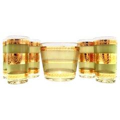 Mid-Century 22-Karat Gold Textured Drinks, Set of 7