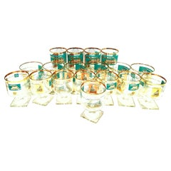 "Midcentury 22-Karat Gold & Turquoise ""River Boat"" Glass Drinks, Set of 18"