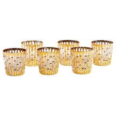 Midcentury 22-Karat Hand Painted Bamboo Rocks Glasses, Set of 6, circa 1965