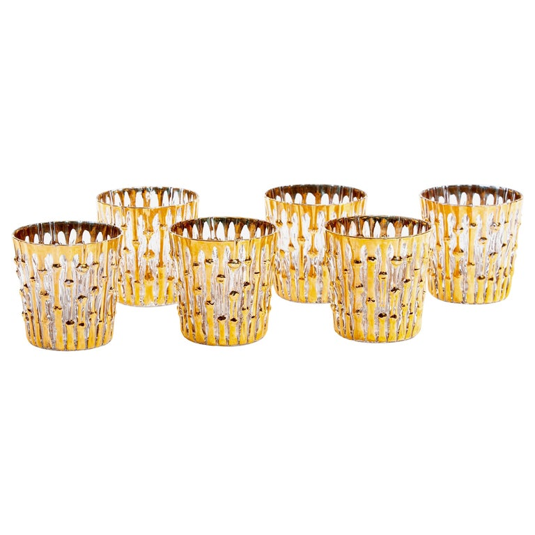 Midcentury 22-Karat Hand Painted Bamboo Rocks Glasses, Set of 6, circa 1965 For Sale