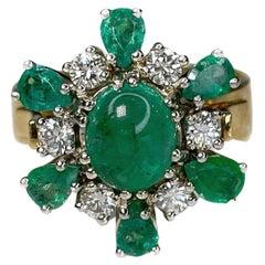 Mid Century 2,50ct Emerald Diamond 18K Yellow Gold Cluster Ring
