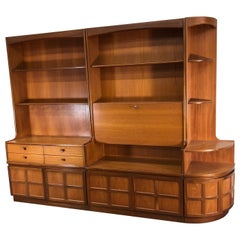 Midcentury 3-Piece Teak Wall Unit by Nathan Furniture