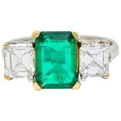 Midcentury 3.28 Carat Colombian Emerald Asscher Diamond 18 Karat Gold Ring AGL
