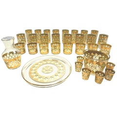 Mid Century 35 Piece Culver Valencia 24 Karat Gold Barware Glasses Set