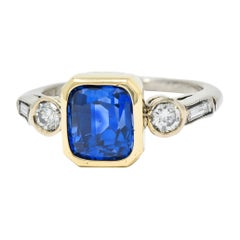 Mid-Century 3.65 Carat Sapphire Diamond 14 Karat Gold Palladium Gemstone Ring