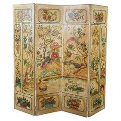 Mid Century 4 Panel Chinoiserie Folding Screen Room Divider Bird Pond Landscape