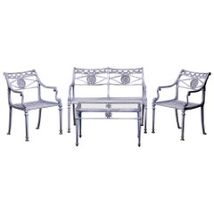 Mid Century 4 Pc Neoclassical Style Cast Aluminum Patio Set Attributed to Molla