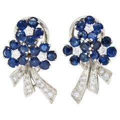 Mid-Century 4.55 Carats Sapphire Diamond Platinum Bouquet Earrings, Circa 1950