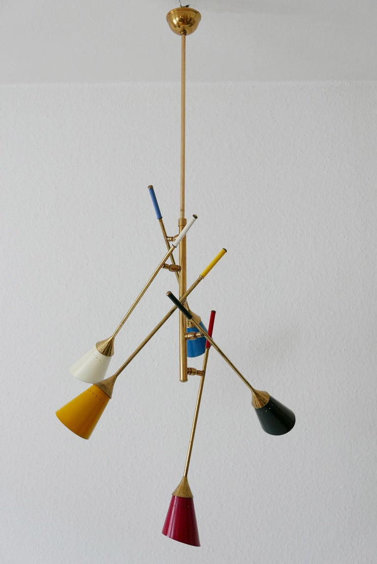 Midcentury 5-Arm Sputnik Chandelier or Pendant Lamp by Arredoluce, 1950s, Italy For Sale 2