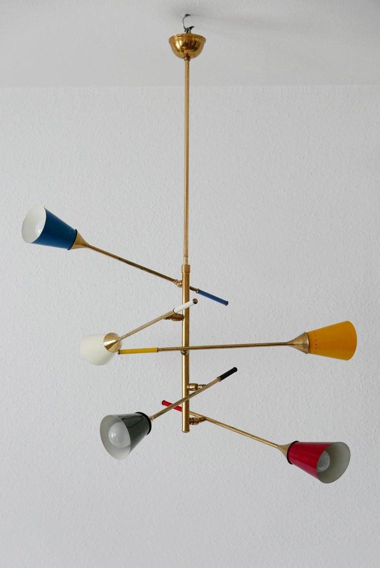 Midcentury 5-Arm Sputnik Chandelier or Pendant Lamp by Arredoluce, 1950s, Italy For Sale 3