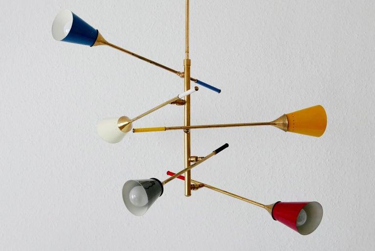 Midcentury 5-Arm Sputnik Chandelier or Pendant Lamp by Arredoluce, 1950s, Italy For Sale 4