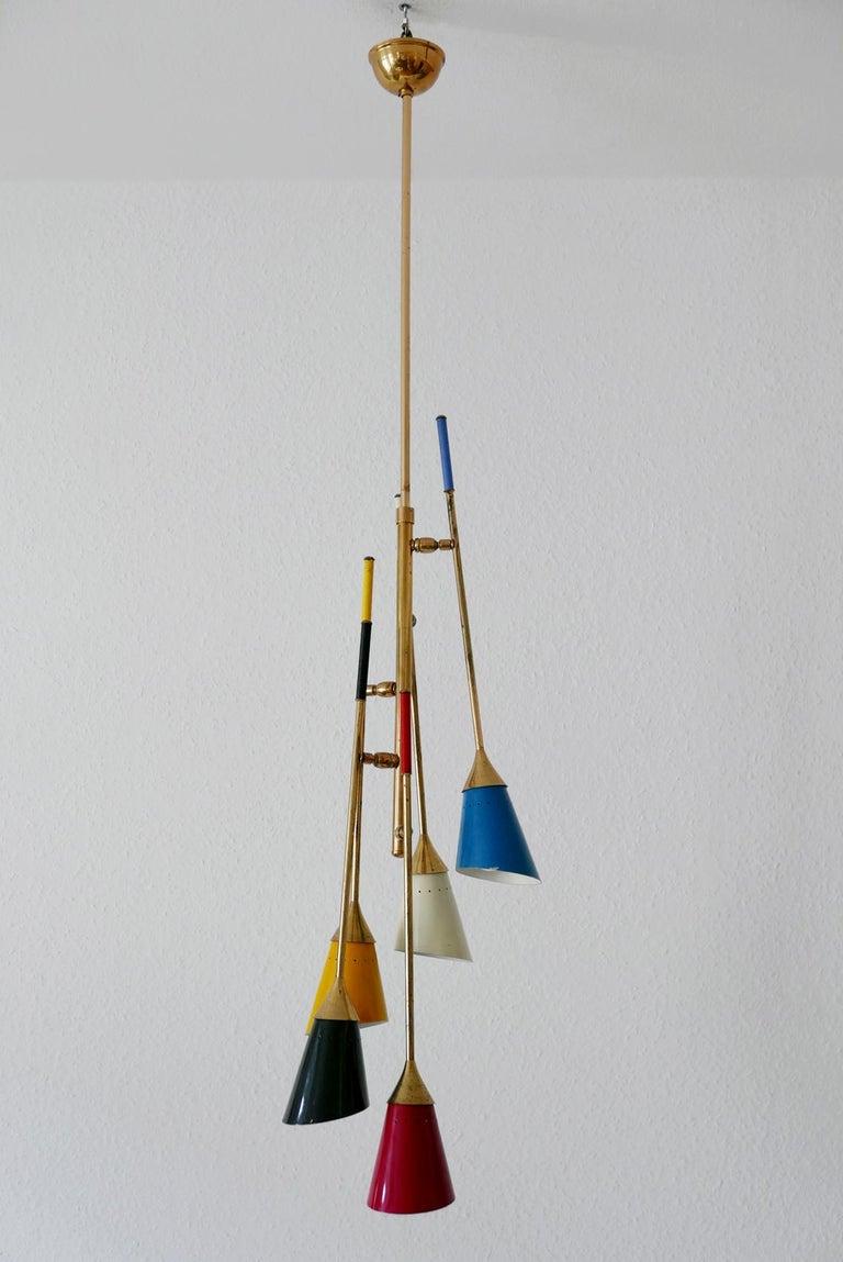 Midcentury 5-Arm Sputnik Chandelier or Pendant Lamp by Arredoluce, 1950s, Italy For Sale 5