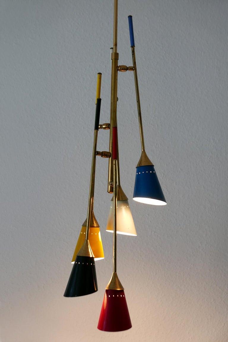 Midcentury 5-Arm Sputnik Chandelier or Pendant Lamp by Arredoluce, 1950s, Italy For Sale 7