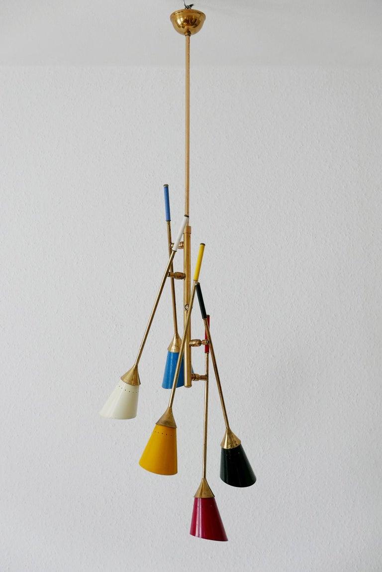 Mid-Century Modern Midcentury 5-Arm Sputnik Chandelier or Pendant Lamp by Arredoluce, 1950s, Italy For Sale