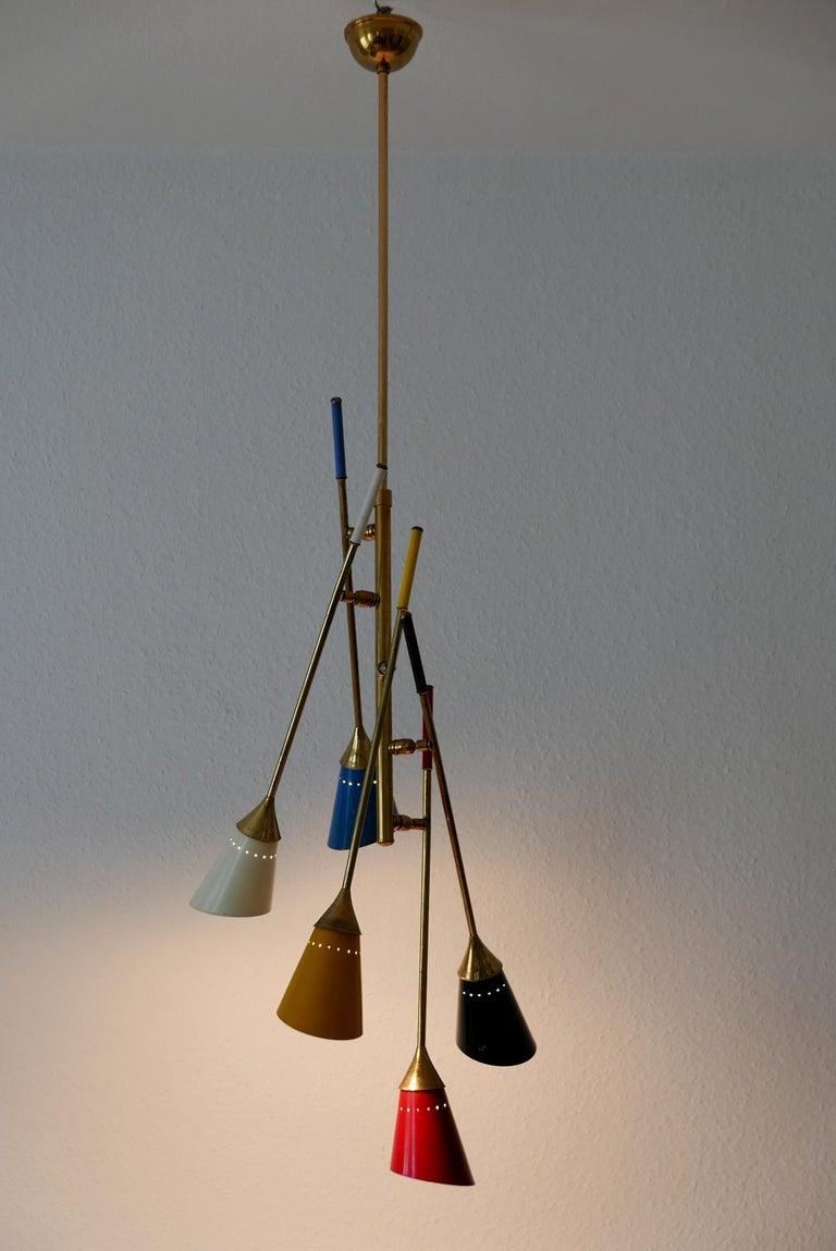 Italian Midcentury 5-Arm Sputnik Chandelier or Pendant Lamp by Arredoluce, 1950s, Italy For Sale