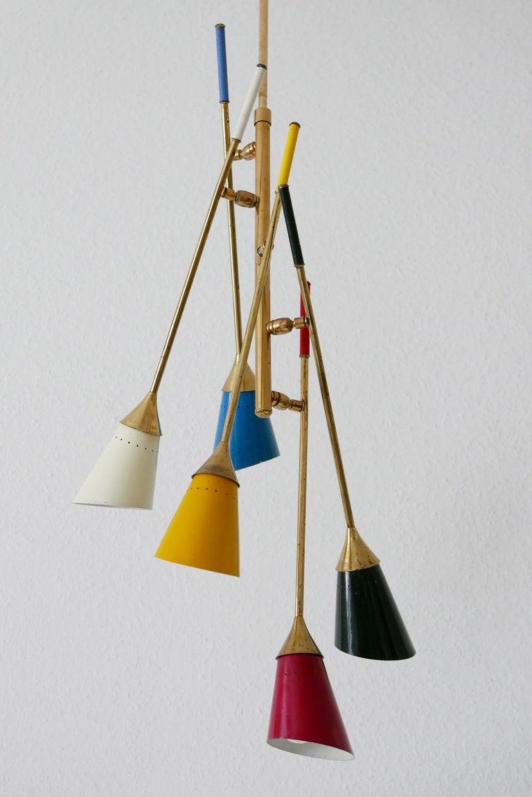 Midcentury 5-Arm Sputnik Chandelier or Pendant Lamp by Arredoluce, 1950s, Italy In Good Condition For Sale In Munich, DE
