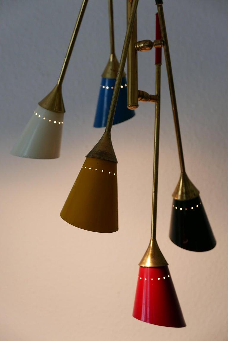 Aluminum Midcentury 5-Arm Sputnik Chandelier or Pendant Lamp by Arredoluce, 1950s, Italy For Sale