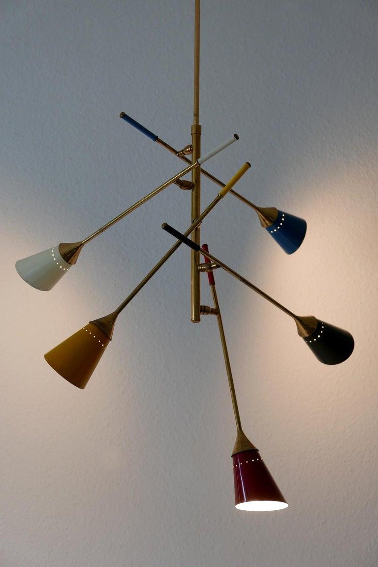 Midcentury 5-Arm Sputnik Chandelier or Pendant Lamp by Arredoluce, 1950s, Italy For Sale 1