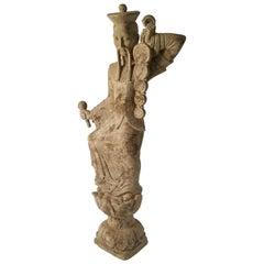 Midcentury Tall Plaster Asian Bodhisattva Figural Garden Sculpture