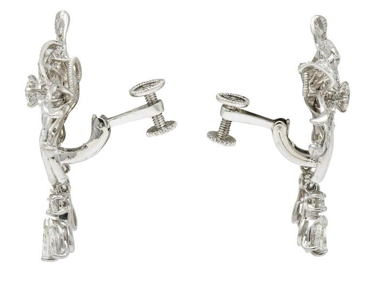Midcentury 5.08 Carat Diamond Platinum Dynamic Flower Ear-Clip Earrings In Excellent Condition In Philadelphia, PA