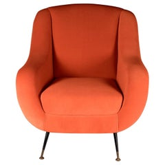 Midcentury 1950s Style Italian Lounge Chair Sophia in Orange