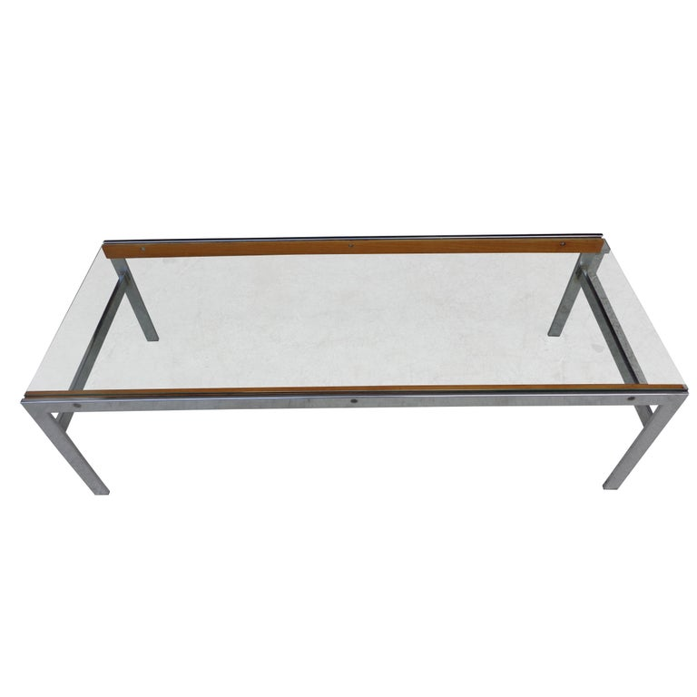 Mid century glass chrome wood coffee table  Interesting mix of glass, chrome and wood in this 54