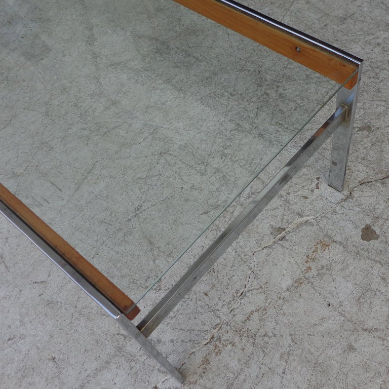 20th Century Mid Century Glass Top Chrome Wood Coffee Table For Sale
