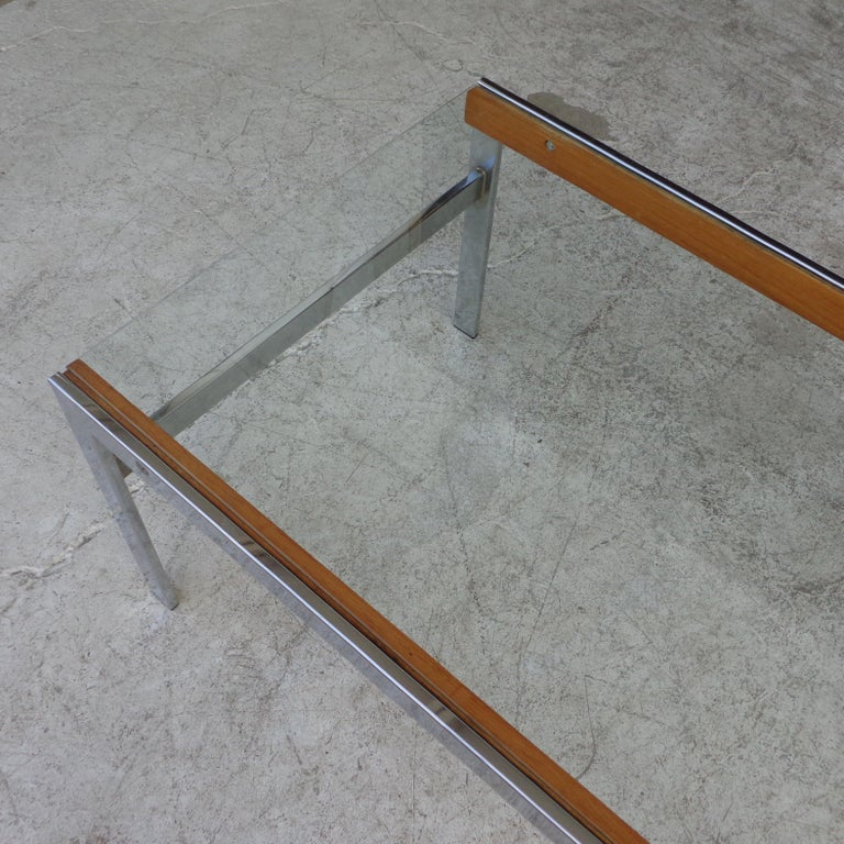 Mid Century Glass Top Chrome Wood Coffee Table For Sale 1