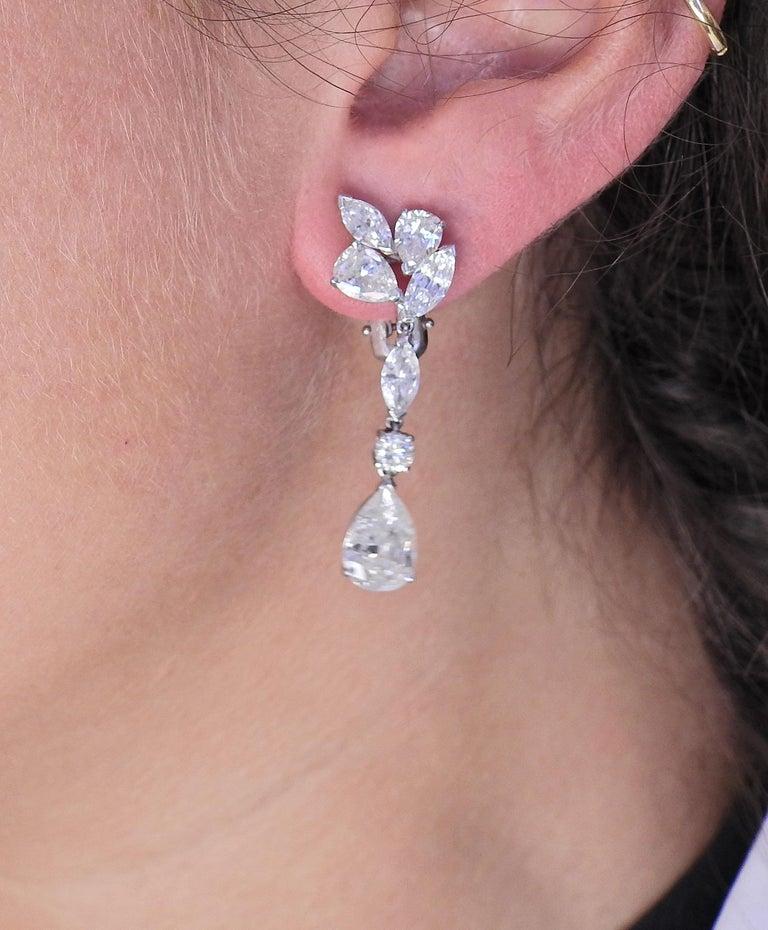 Mid Century 7 Carat Diamond Platinum Drop Earrings In Excellent Condition For Sale In Boca Raton, FL
