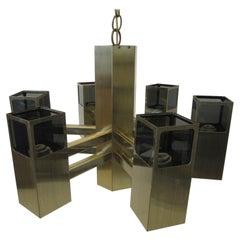 Mid Century 70's Bronze Brass Chandelier by Frederick Ramond