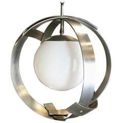 Midcentury Abstract Aluminum Strip Ribbon Globe Chandelier