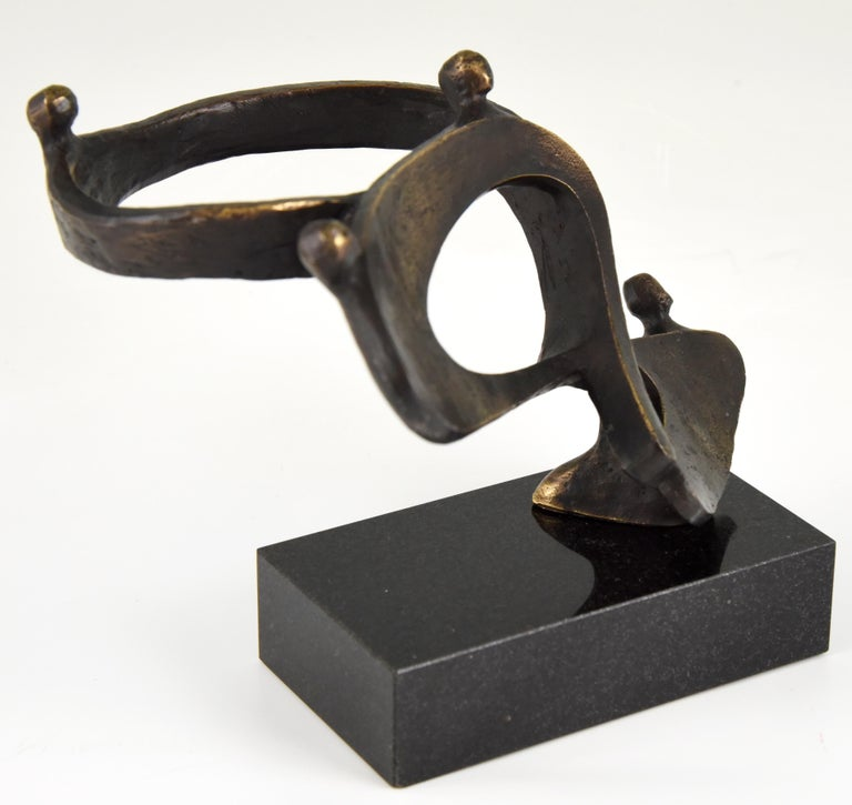 Mid-Century Modern Midcentury Abstract Bronze Sculpture Can For Sale
