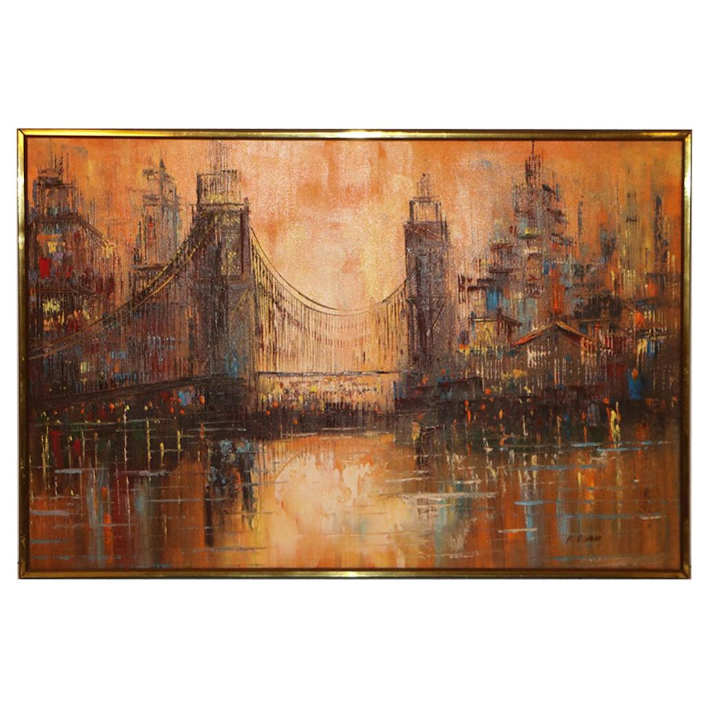 Midcentury Abstract Cityscape Bridge Painting