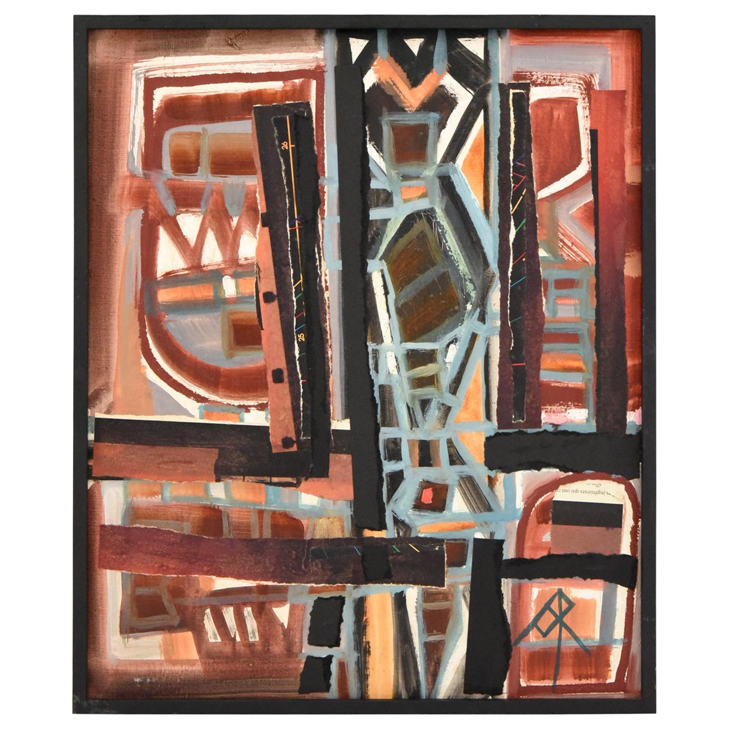 Midcentury Abstract Collage Painting André Pailler, France, 1970