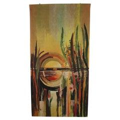 Mid-Century Abstract Design Handmade Wool Tapestry Designed by Ivana Staňková