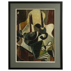 Midcentury Abstract Expressionism Still Life Oil Painting Signed J. Haymson