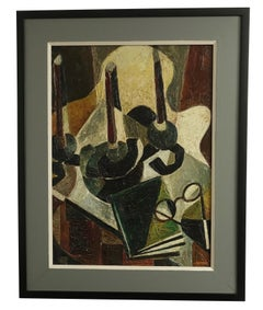 Mid-Century Abstract Expressionism Still Life Oil Painting signed J. Haymson