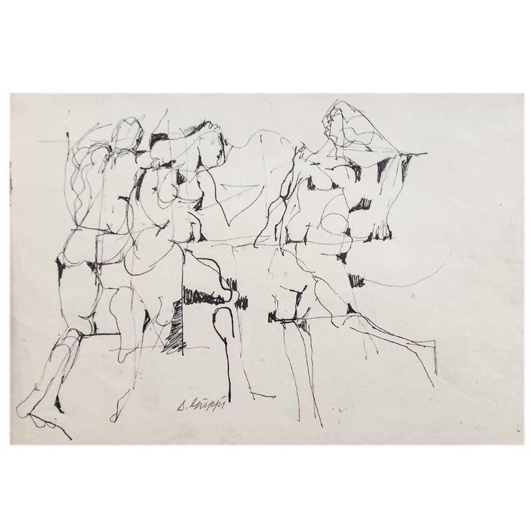 This ink figurative abstract Expressionist piece on paper is signed by its creator, noted New York School artist Salvatore Grippi. Though undated, the piece is similar in form and style to many of Grippi's earliest works, circa 1950.  The piece