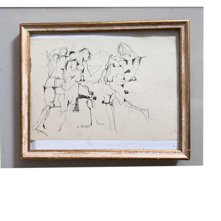 Mid-Century Modern Midcentury Abstract Expressionist Ink Drawing on Paper by Salvatore Grippi, 1953 For Sale