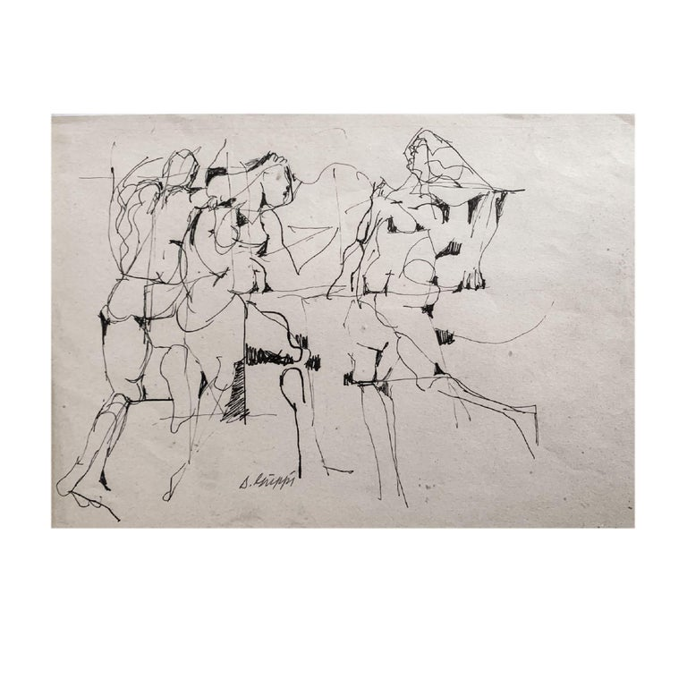 American Midcentury Abstract Expressionist Ink Drawing on Paper by Salvatore Grippi, 1953 For Sale