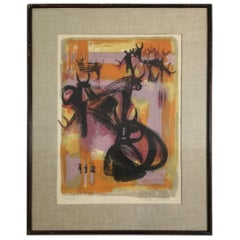 Midcentury Abstract Framed Lithograph