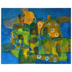 Midcentury Abstract Mixed-Media on Canvas