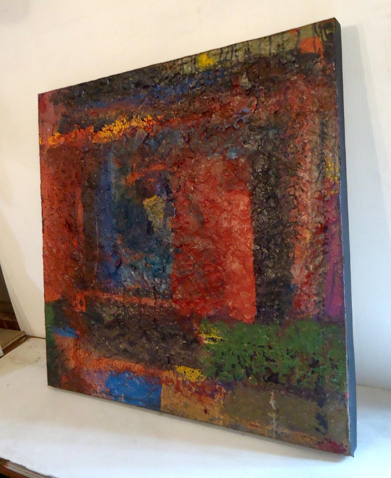 1970s frameless abstract oil painting on canvas, signed by artist. Please confirm item location (NY or NJ).