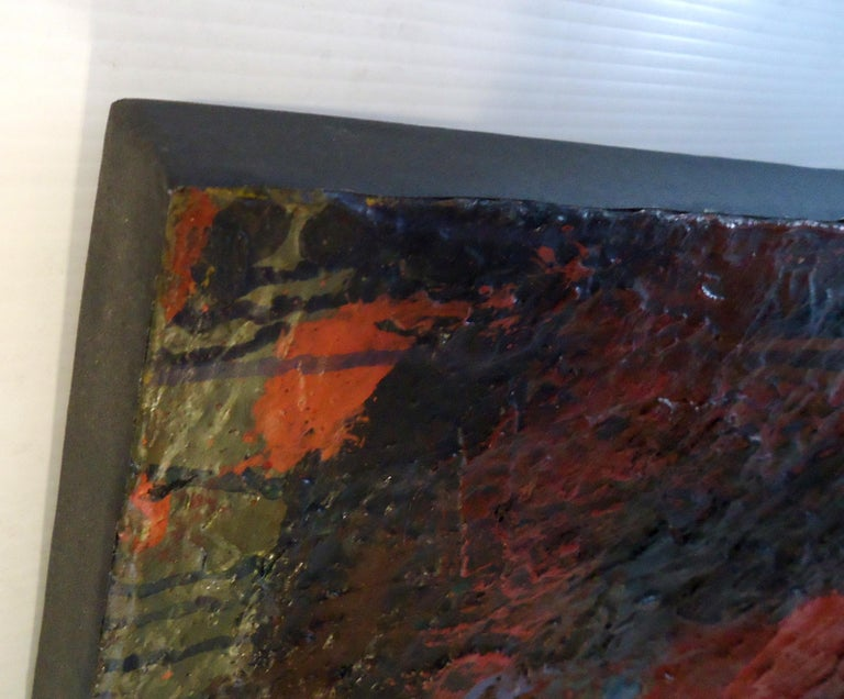 Midcentury Abstract Painting Signed by Artist In Good Condition For Sale In Brooklyn, NY