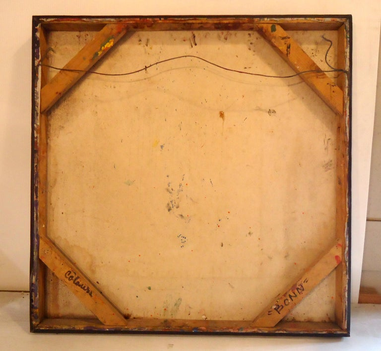 Midcentury Abstract Painting Signed by Artist For Sale 1