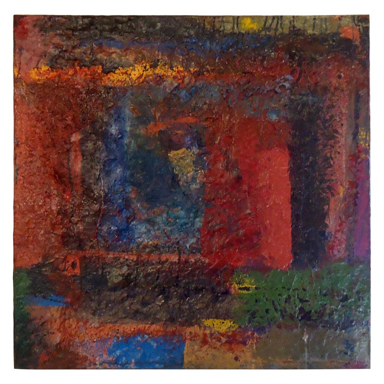 Midcentury Abstract Painting Signed by Artist For Sale