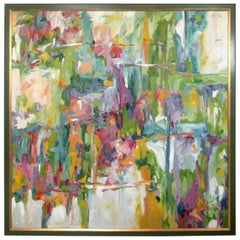 """Midcentury Abstract Painting """"Spring"""" by Weissman"""