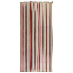 Mid Century Abstract Persian Striped Kilim Wide Runner