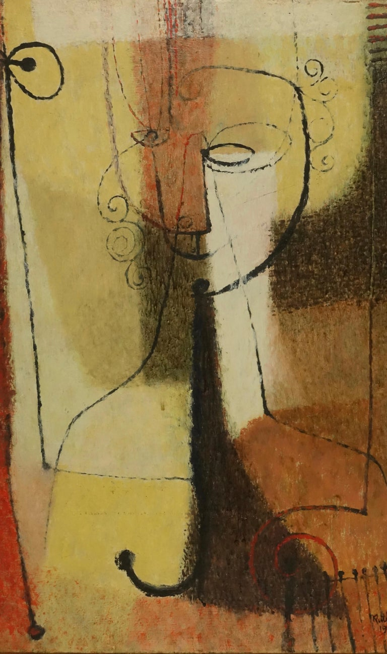 Abstract portrait of a woman, oil on canvas, in original simple wood frame. Signed and dated, Ruth Jalovick, 1951.